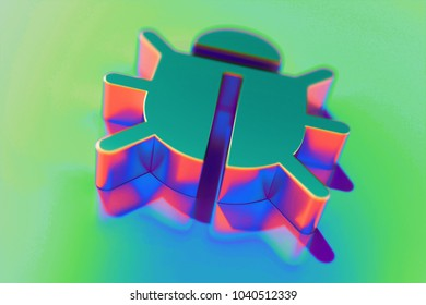 Abstract Color Bug Icon With Colorful Reflections on the Green Background With Smooth Focus. 3D Illustration of Bug, Defect, Flaw, Glitch, Insect, Security Icon Set for Presentation.