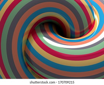 Abstract Color Hypnotic Spiral. 3d