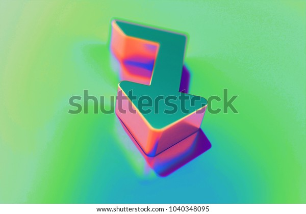Abstract Color Level Down Icon Colorful Stock Illustration