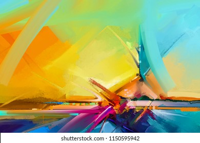 Abstract color oil, acrylic paint brush stroke on canvas texture. Semi abstract image of landscape painting background. Oil modern contemporary wall art paintings. Artwork colorful for background