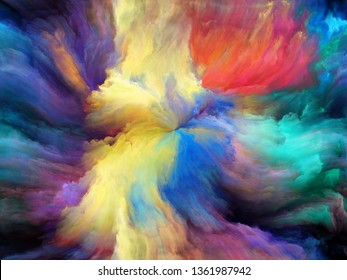 Abstract Color series. Artistic background made of colorful paint in motion on canvas for use with projects on art, creativity and imagination
