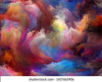 Abstract Color series. Background design of colorful paint in motion on canvas on the subject of art, creativity and imagination