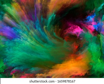 Abstract Color series. Composition of  colorful paint in motion on canvas for projects on art, creativity and imagination