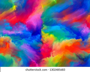 Abstract Color series. Creative arrangement of colorful paint in motion on canvas for subject of art, creativity and imagination