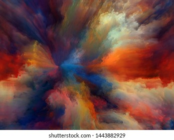 Abstract Color series. Design composed of colorful paint in motion on canvas as a metaphor on the subject of art, creativity and imagination