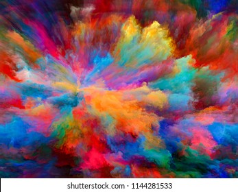 Abstract Color series. Abstract design made of colorful paint in motion on canvas on the subject of art, creativity and imagination