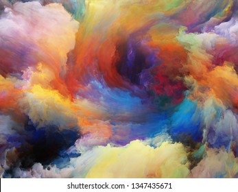 Abstract Color series. Interplay of colorful paint in motion on canvas on the subject of art, creativity and imagination