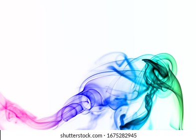 Abstract color smoke isolated on white