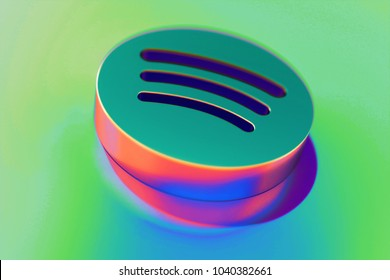 Abstract Color Spotify Icon With Colorful Reflections on the Green Background With Smooth Focus. 3D Illustration of Audio, Audio Streaming, Music Icon Set for Presentation.
