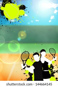 Abstract color tennis sport poster background with space