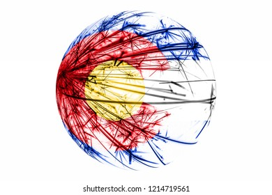 Abstract Colorado sparkling flag. American Christmas ball concept isolated on white background