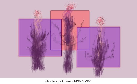 Abstract colored quadrangles and plants on a pale purple background.