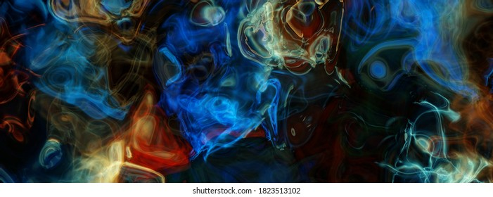 Abstract colored smoke, blue, red, orange translucent clouds on black background. Very detailed close up digital illustration, ultra high resolution, very wide dreamy texture, background
