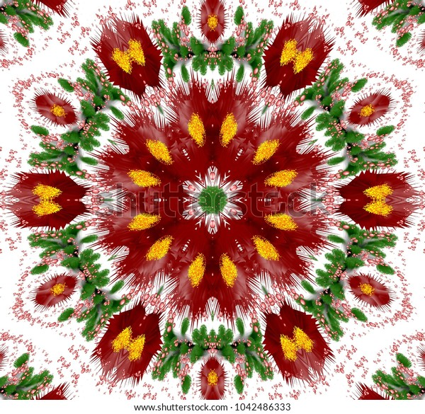 Abstract colored symmetrical pattern with fantasy plants and bubbles on white background. Symmetrical abstract ornament with bubbles and fantasy plants in dark red, green and other shades on white bac