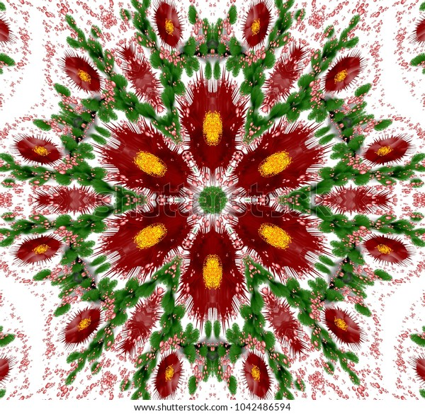 Abstract colored symmetrical pattern with fantasy plants and bubbles on white background. Six-way ornament with bubbles and fantasy plants in dark red, green and other shades on white background.
