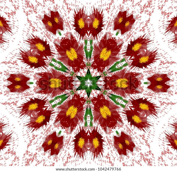 Abstract colored symmetrical pattern with flowers and bubbles on white background. Symmetrical ornament with dark red abstract flowers and bubbles.