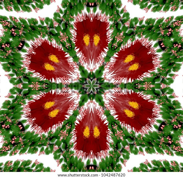 Abstract colored symmetrical pattern with plants and bubbles on white background. Six-way fantasy ornament with bubbles and abstract plants in dark red, green and other shades on white background.
