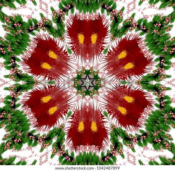 Abstract colored symmetrical pattern with plants and bubbles on white background. Six-way fantasy ornament with bubbles and abstract plants in dark red, green and other shades.