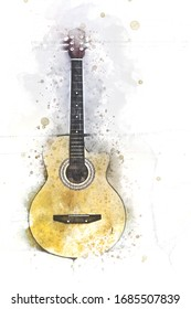 Abstract colorful acoustic guitar on watercolor illustration painting background.