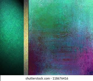 abstract colorful background layout design, vintage grunge background texture, gold green blue background, formal elegant gold ribbon, green black banner background side bar or banner web template