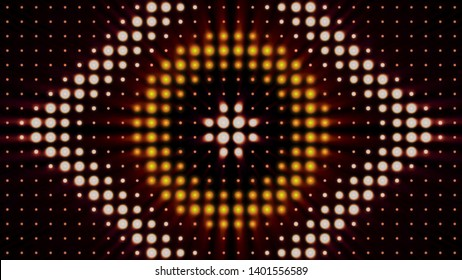 Abstract colorful background with shining spotlights in forms of circle and rhombus, concert lighting. Animation. Blinking yellow, red, and white soffits, seamless loop.