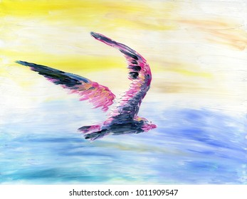 Abstract colorful bird flying high in the sky above the sea. Oil painting on canvas