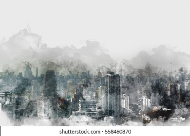 Abstract colorful building in the city on watercolor painting background.