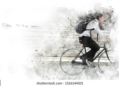Abstract colorful business man riding bicycle on watercolor illustration painting background.