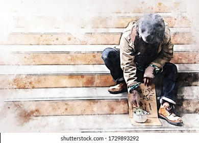 Abstract colorful business senior man homeless alone on watercolor illustration painting background.