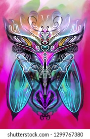 Abstract colorful butterfly illustration
