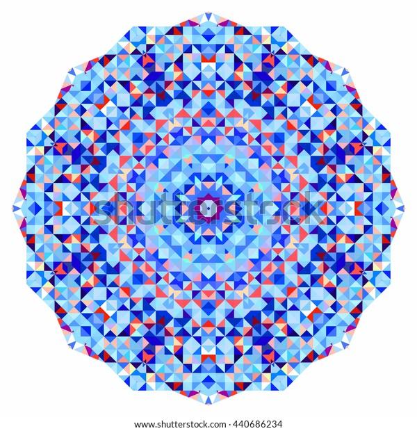 Abstract colorful circle backdrop. Geometric mandala. Mosaic banner of geometric shapes