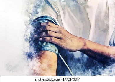Abstract colorful close-up man measure pressure by yourself in room on watercolor illustration painting background.