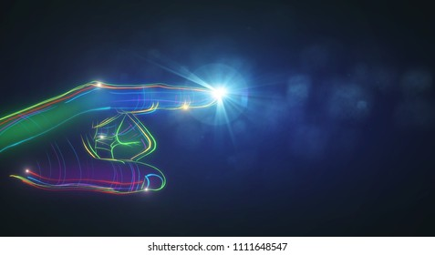 Abstract colorful digital hand pointing on blurry blue background. Technology and artificial intelligence concept. 3D Rendering