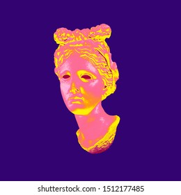 Abstract colorful digital illustration from 3D rendering of classical greek female head bust isolated on violet background in vaporwave style.