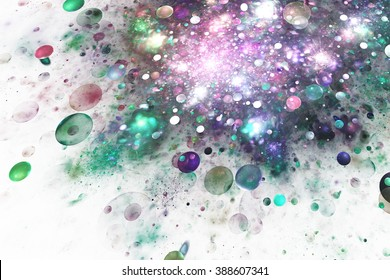 Abstract colorful drops on white background. Fantasy fractal texture for greeting cards,  or t-shirts.