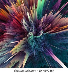 Abstract colorful explosion background. Closeup, hi-res illustration for your brochure, flyer, banner designs and other projects. Explosion lighting effect. 3D render illustration.