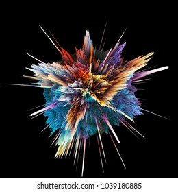 Abstract colorful explosion isolated on black background. Hi-res illustration for your brochure, flyer, banner designs and other projects. Explosion lighting effect. 3D render illustration.