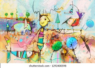 Abstract colorful fantasy oil, acrylic painting. Semi- abstract paint of tree, fish, elephant and bird in landscape. Spring, summer season nature background. Hand painted, children painting style