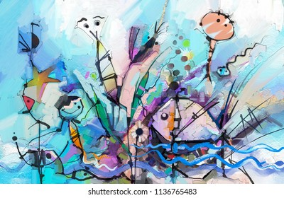 Abstract colorful fantasy oil painting. Semi- abstract of chidren, tree, fish and bird. Spring ,summer season nature background. Hand painted, children painting surreal style for background