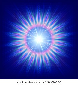 abstract colorful flower over blue background with rays