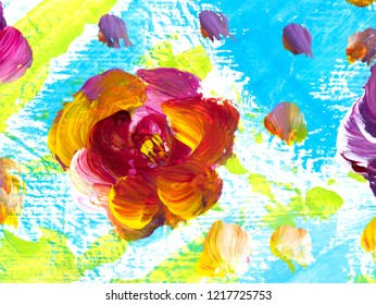 Abstract colorful flowers, hand painted background, fragment of brush acrylic painting on canvas, wallpaper, texture. Modern art. Contemporary art.