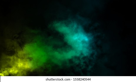 Abstract colorful fog smoke moves on isolated black background . The concept of aromatherapy