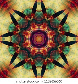 Abstract colorful fractal with kaleidoscopical seamless pattern. Beautiful illustration.