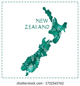 Abstract colorful geographic map of New Zealand, flat design with herbal leaves ornaments