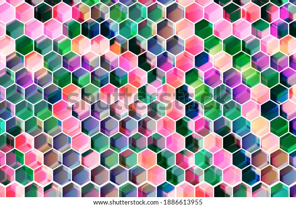 Abstract colorful geometric hexagon background design. Bright Color futuristic design to use as banner, website backdrop or voucher.