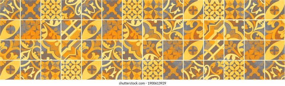 Abstract colorful gray yellow orange patchwork mosaic concrete cement tiles wall wallpaper pattern texture background banner panorama