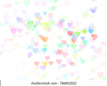 Abstract colorful heart bokeh with watercolor textured background. Valentine's day background.