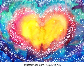 abstract colorful heart love mind mental spiritual soul soulmate inspiring universe emotions energy healing art watercolor painting illustration design color spirit