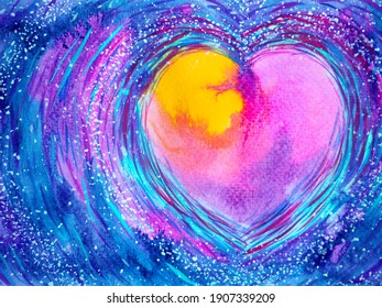 abstract colorful heart love mind mental spiritual soul soulmate inspiring universe emotions energy healing art watercolor painting illustration design color spirit lgbtq love symbol lgbt pride lgbtq+