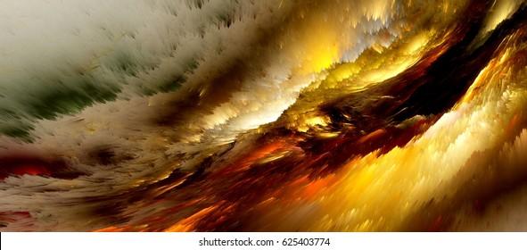 Abstract colorful lightning fractal black background